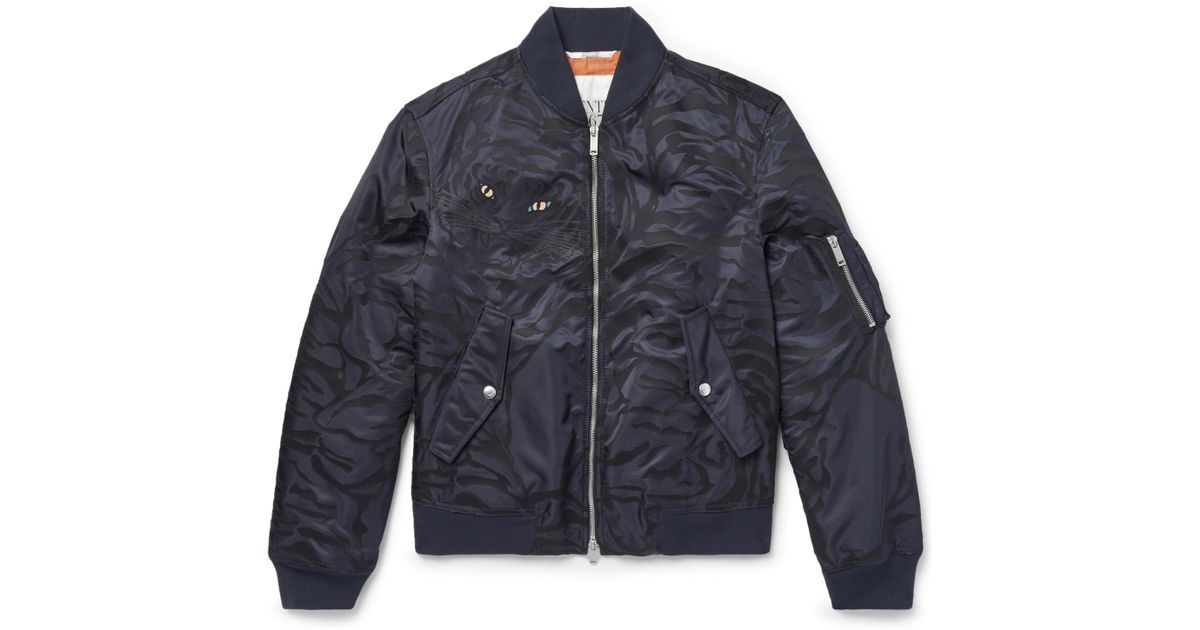 Blue Jacquard In Lyst Bomber Shell Slim Valentino For Fit Jacket Men tq6Yg0
