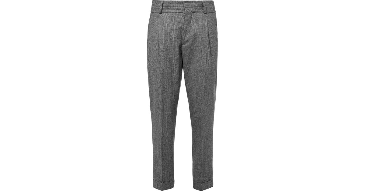 6e13300440 Kent & Curwen Gray Tapered Prince Of Wales Checked Wool Trousers for men