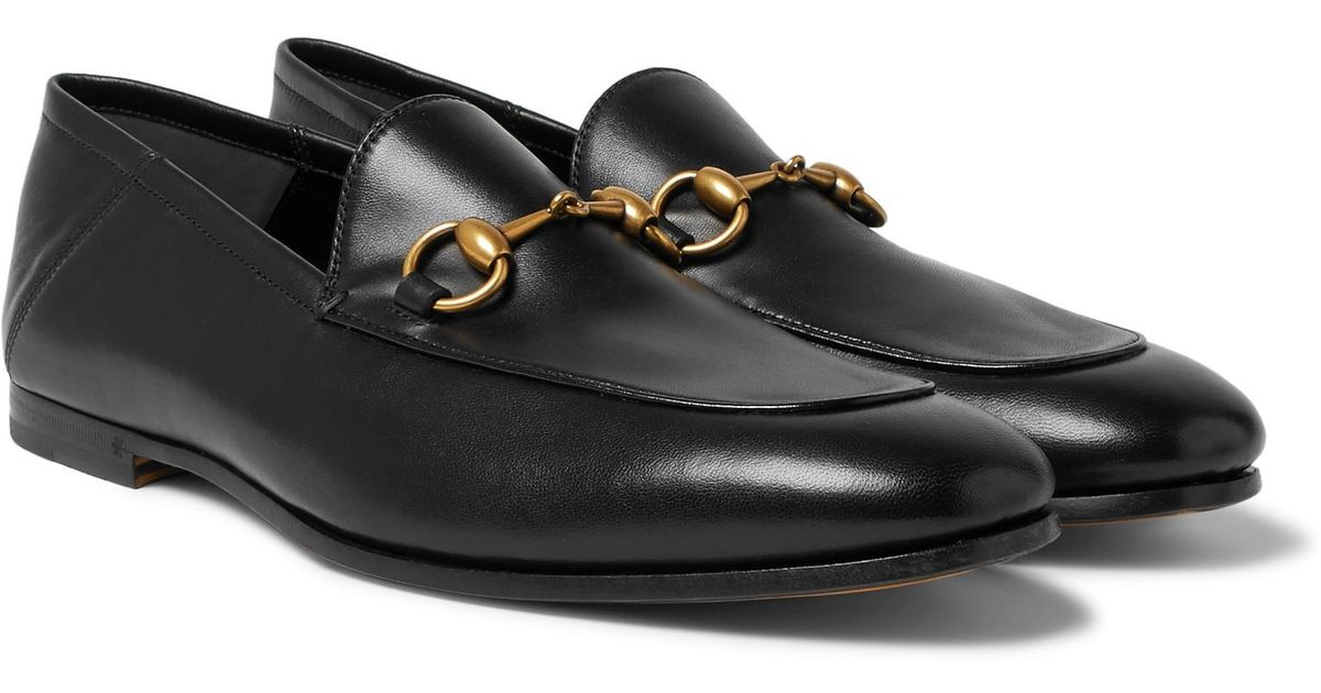 b035fa9dccb Lyst - Gucci Brixton Horsebit Collapsible-heel Leather Loafers in Black for  Men