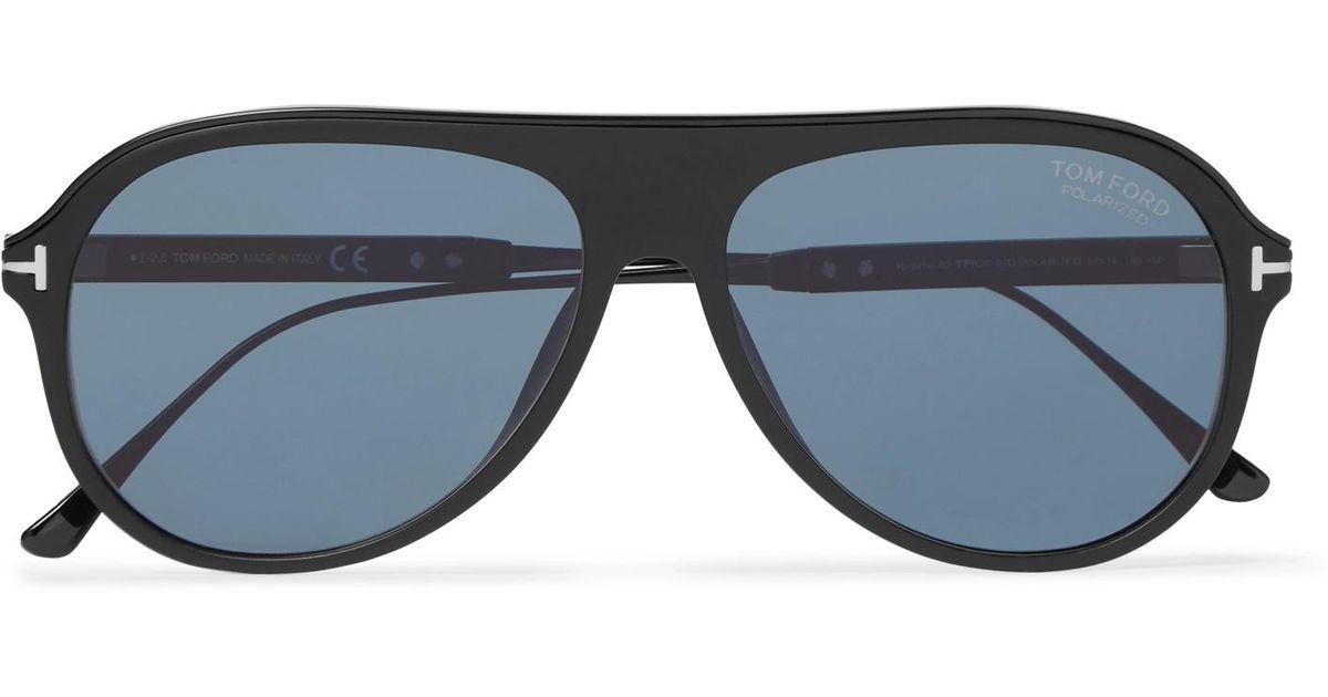 29bff3d2ecc Lyst - Tom Ford Nicholai Aviator-style Acetate Polarised Sunglasses in Black  for Men