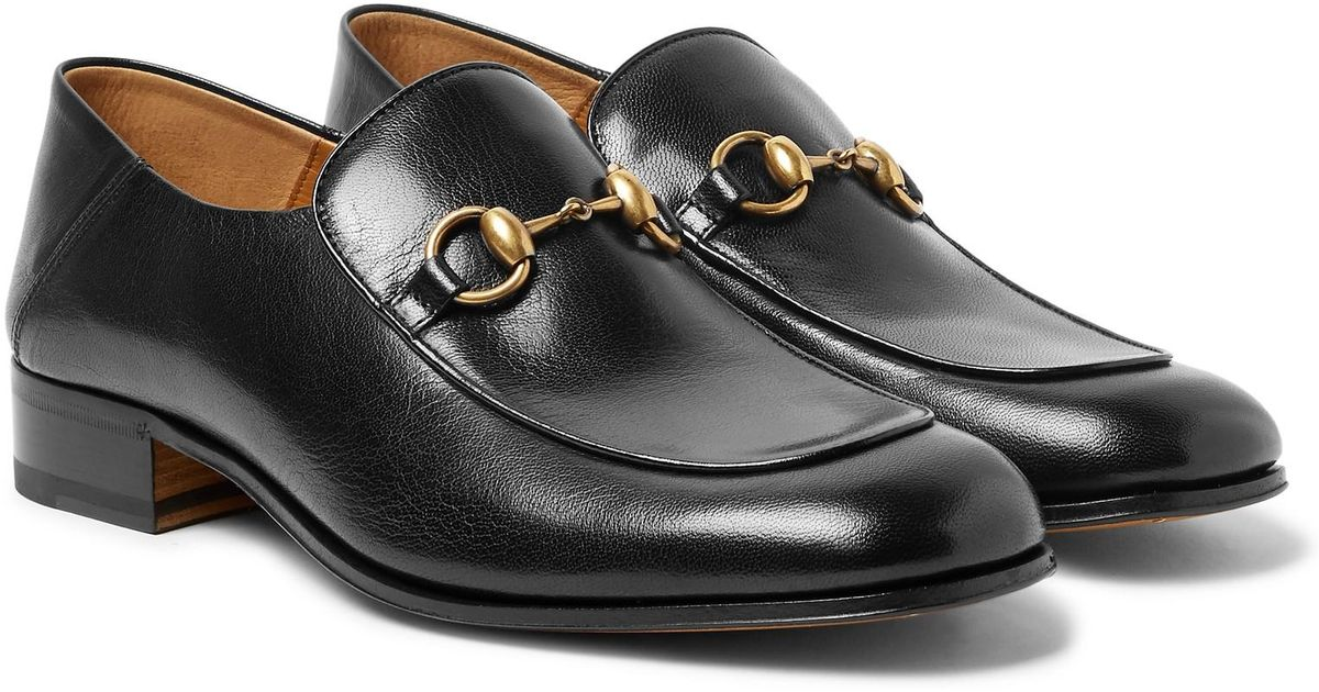 be720a50167 Gucci Mister Horsebit Collapsible-heel Leather Loafers in Black for Men -  Lyst