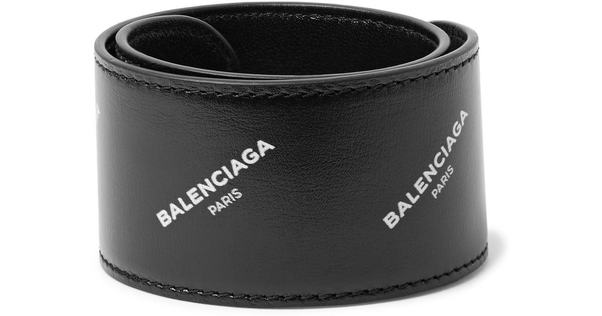 Balenciaga Printed Leather Snap Bracelet - Black CDnixXH
