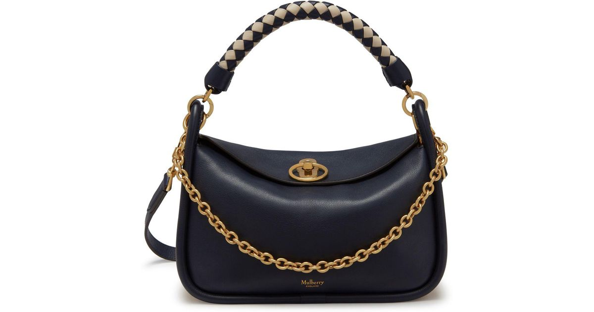 13fed713f4c9 Lyst - Mulberry Small Leighton In Midnight Silky Calf With Braided Handle  in Blue
