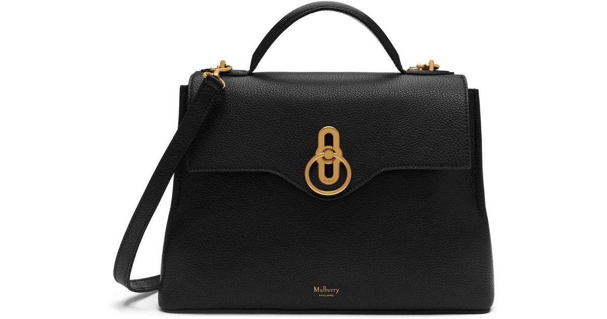 Mulberry Small Seaton In Black Small Classic Grain in Black - Lyst 6f2b7d51083b1