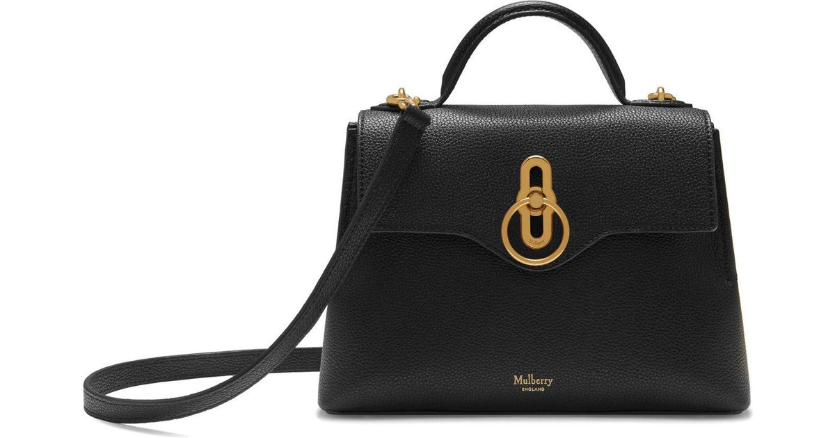 Mulberry Mini Seaton In Black Small Classic Grain in Black - Lyst 60a3ae8a211b4