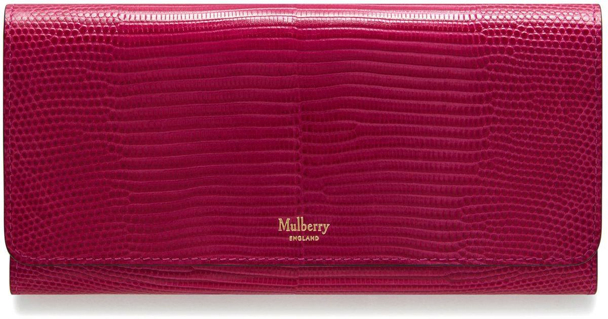 3c546f0389 Lyst - Mulberry Continental Wallet In Deep Pink Embossed Lizard in Pink