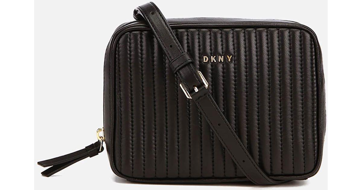 1b53b90158 Lyst - DKNY Gansevoort Pinstripe Quilted Square Crossbody Bag in Black