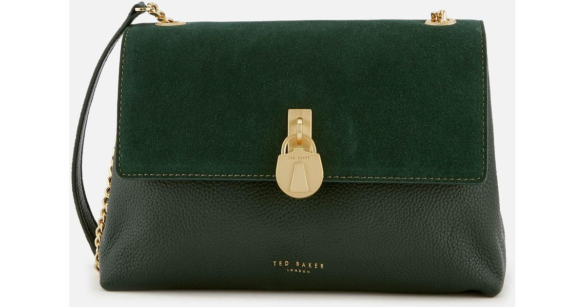 7949ac1f3e Ted Baker Helena Suede Padlock Cross Body Bag in Green - Lyst