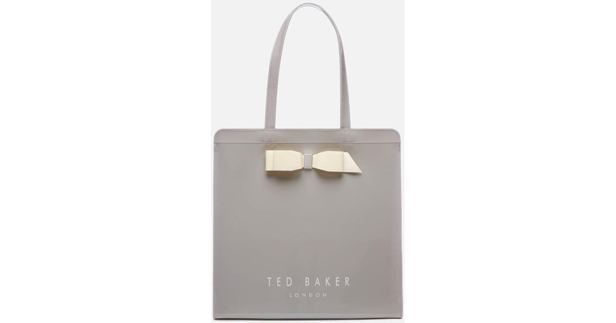 8ee4ac840c7 Ted Baker Almacon Bow Detail Large Icon Bag in Gray - Lyst