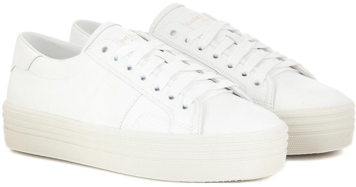 7f01648fa28c Saint Laurent Signature Court Classic Sl/39 Platform Sneakers in White -  Lyst