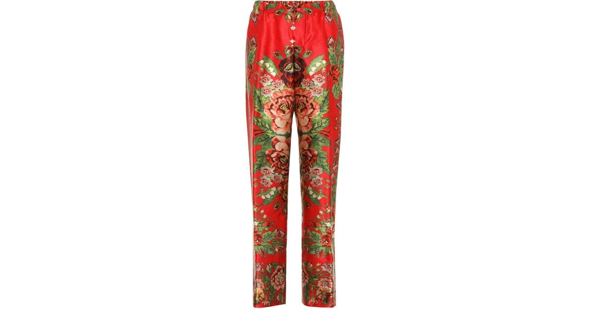 38ab710bd Lyst - F.R.S For Restless Sleepers Etere Printed Silk Trousers in Red