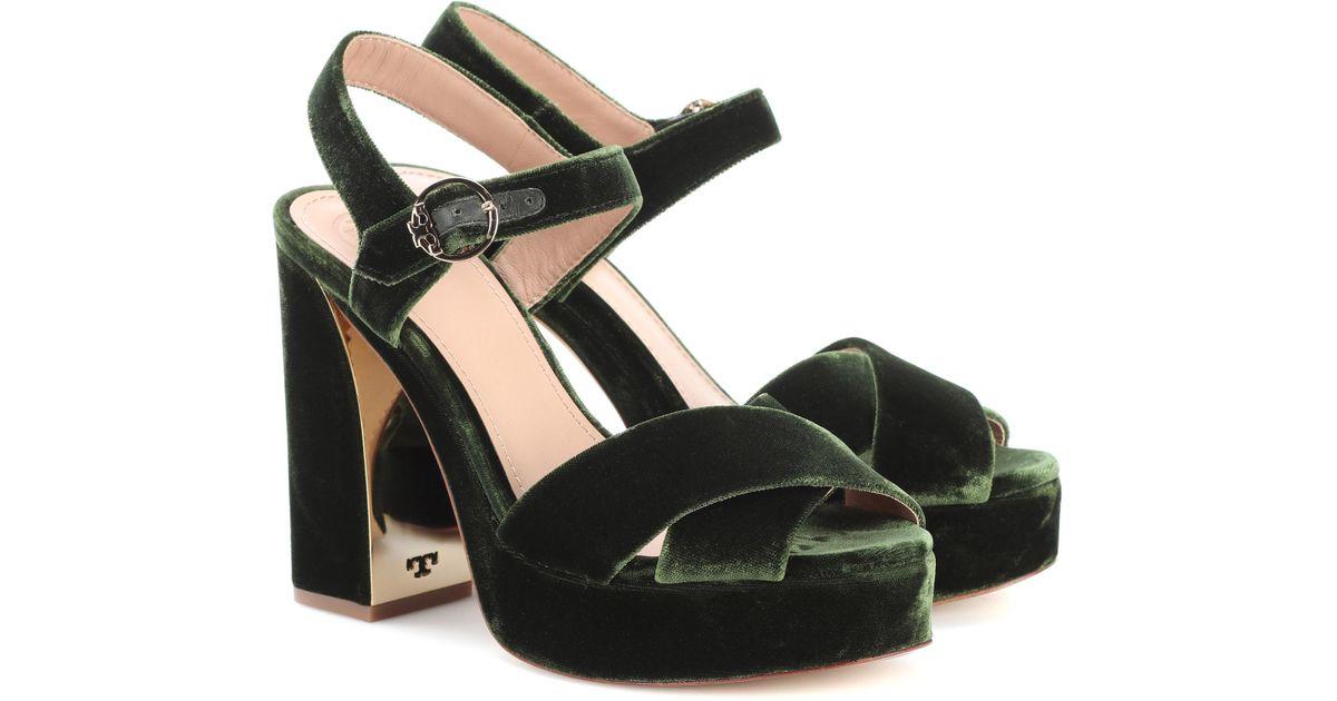 f609e2f0006 Lyst - Tory Burch Loretta 115 Velvet Plateau Sandals in Green