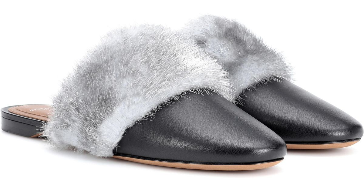Givenchy Bedford Fur-trimmed Leather Slippers in Black - Lyst d580cba5b