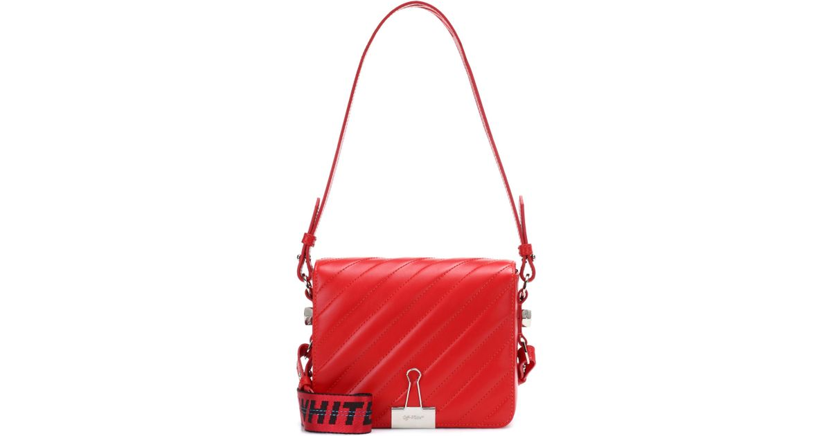 6b3d03758cd5 Off-White c o Virgil Abloh Padded Binder Clip Leather Shoulder Bag in Red -  Lyst