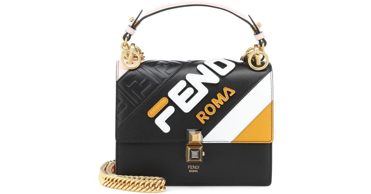 1523f22e5326 Lyst - Fendi Mania Kan I Mini Leather Shoulder Bag