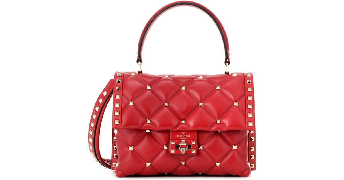 deb7128ada Valentino Rockstud Leather Shoulder Bag in Red - Lyst