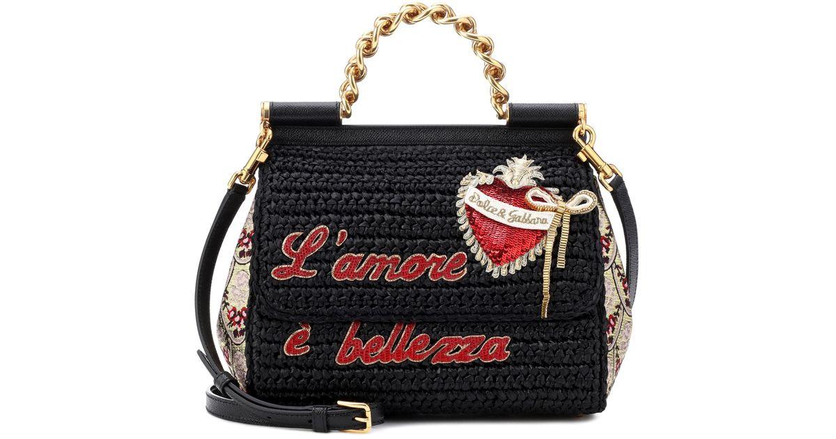 Dolce   Gabbana Sicily Medium Raffia Shoulder Bag in Black - Lyst 9681008e8d07d