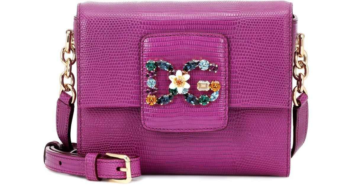 135d26d210c Dolce & Gabbana Dg Millennials Mini Leather Shoulder Bag in Purple - Lyst