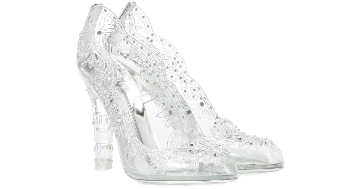 0fda6cf606f1 Lyst - Dolce   Gabbana Cinderella Embellished Transparent Pumps
