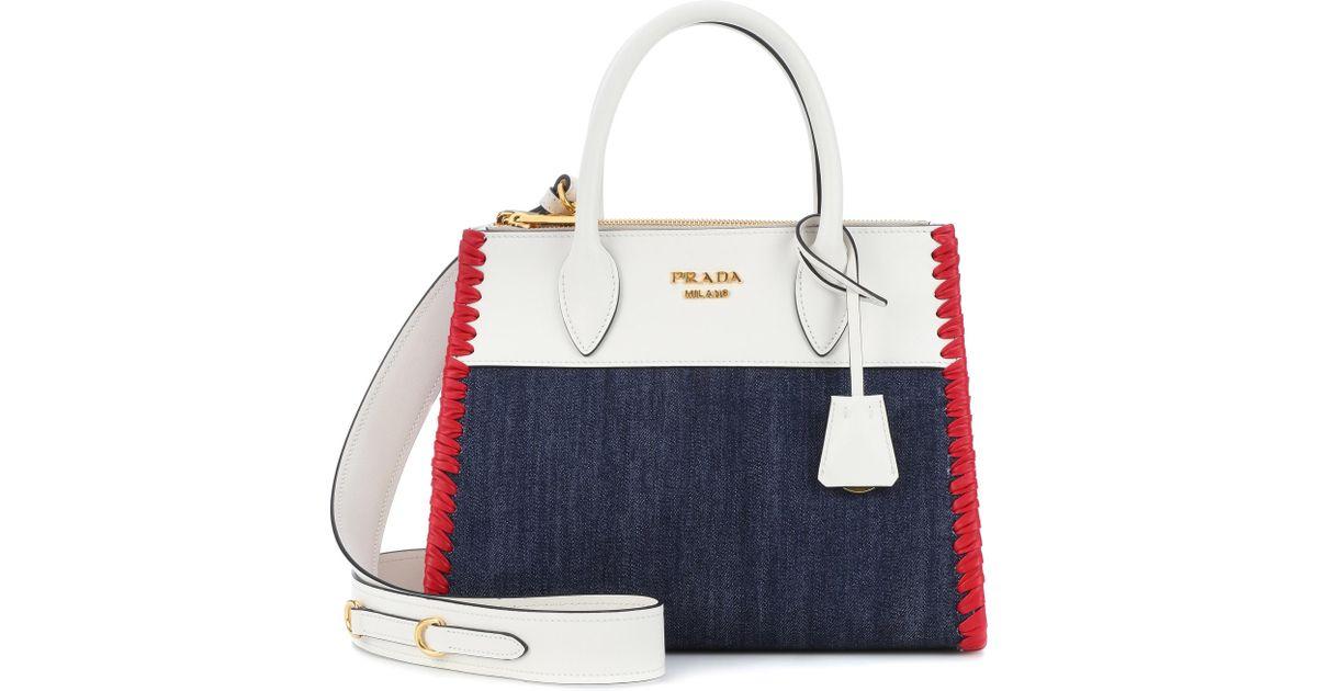 9ac5a9a0c7653d Prada Paradigme Leather And Denim Handbag in White - Lyst