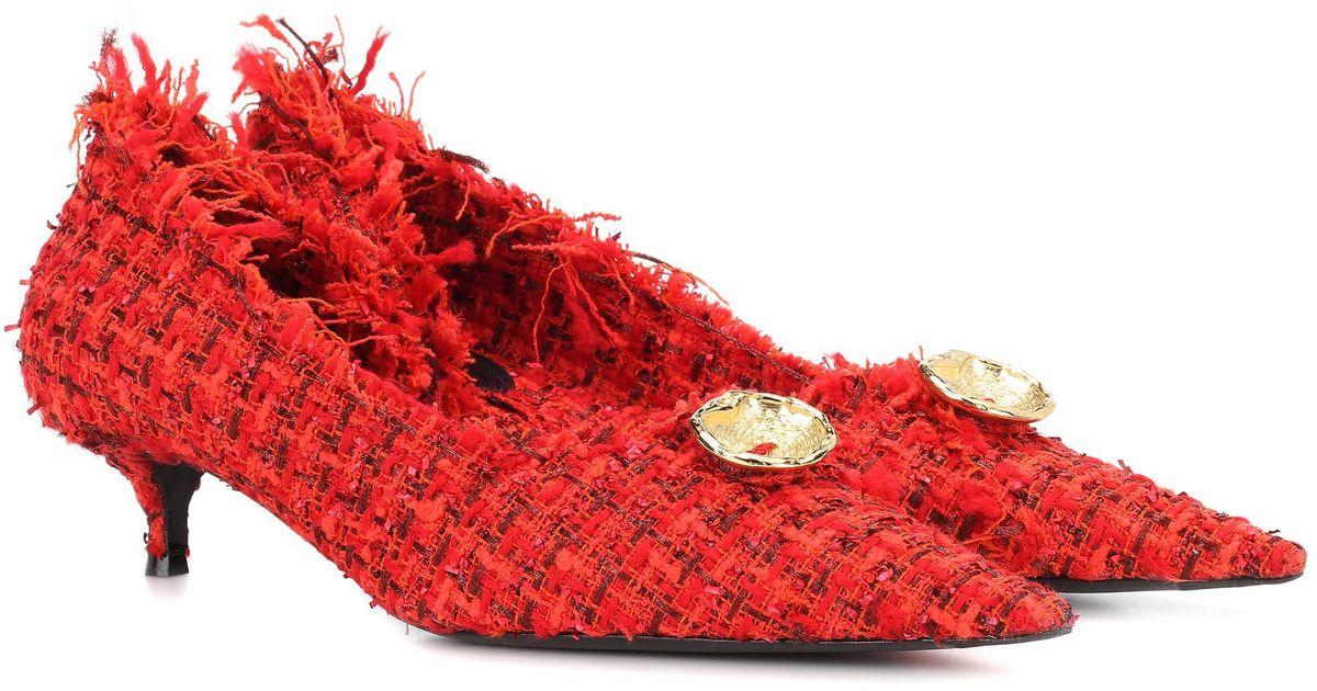 a6a5315f4f2 Lyst - Balenciaga Knife Tweed Pumps in Red