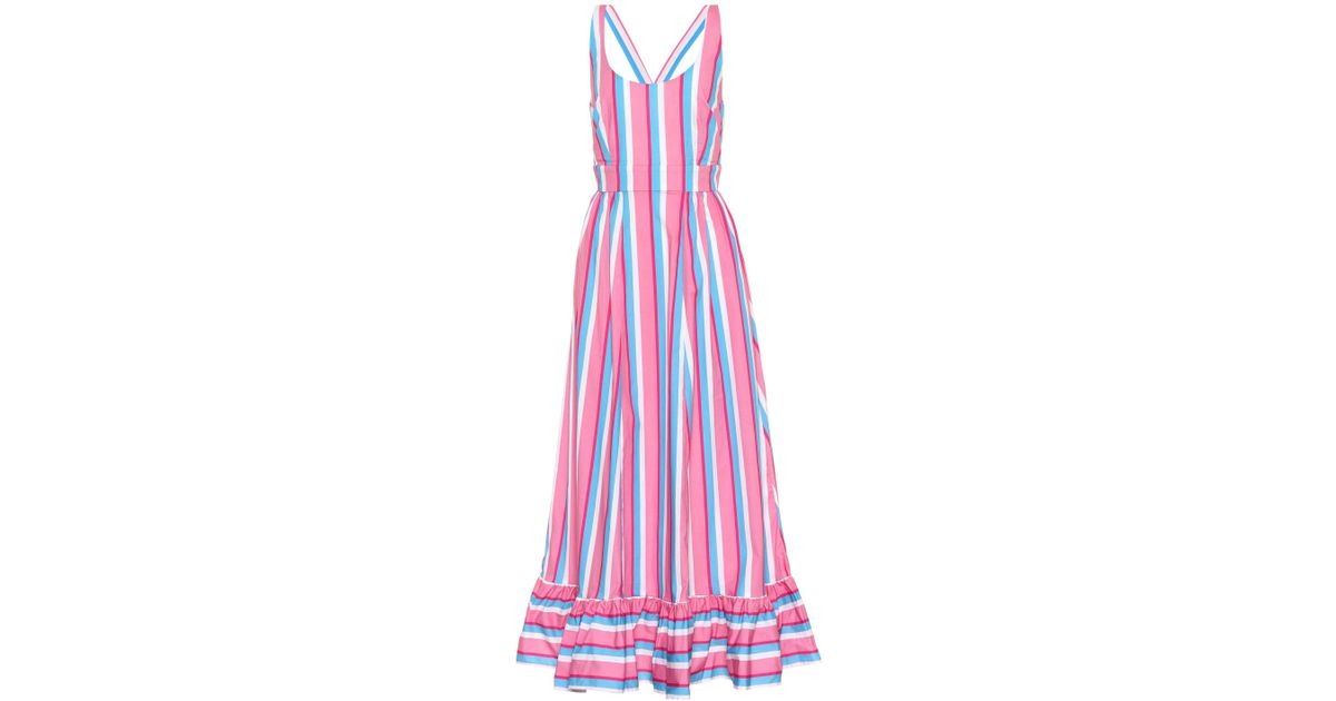 Eunice Striped Stretch-cotton Poplin Maxi Dress - Pink Staud L50aI