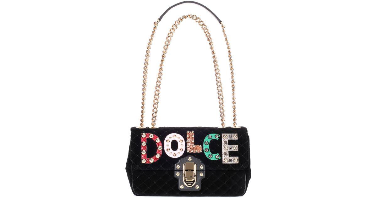 1a04fa6d6f98 Lyst - Dolce   Gabbana Lucia Velvet Shoulder Bag in Black