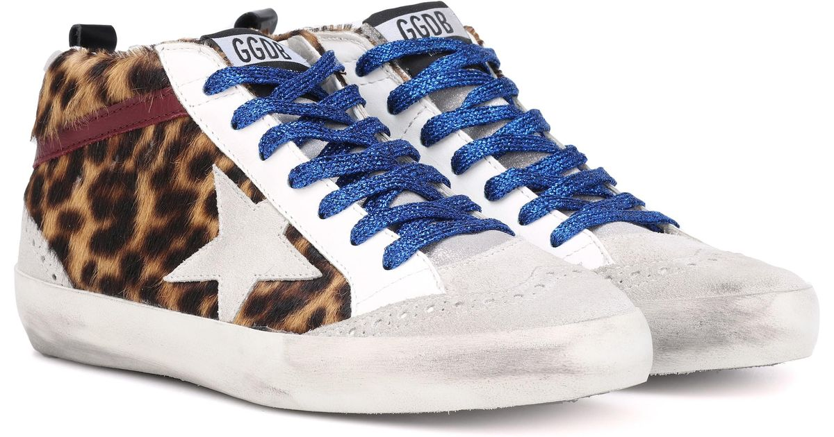 b2487b3f52aa Golden Goose Deluxe Brand Mid Star Leopard Calf Hair Sneakers - Lyst