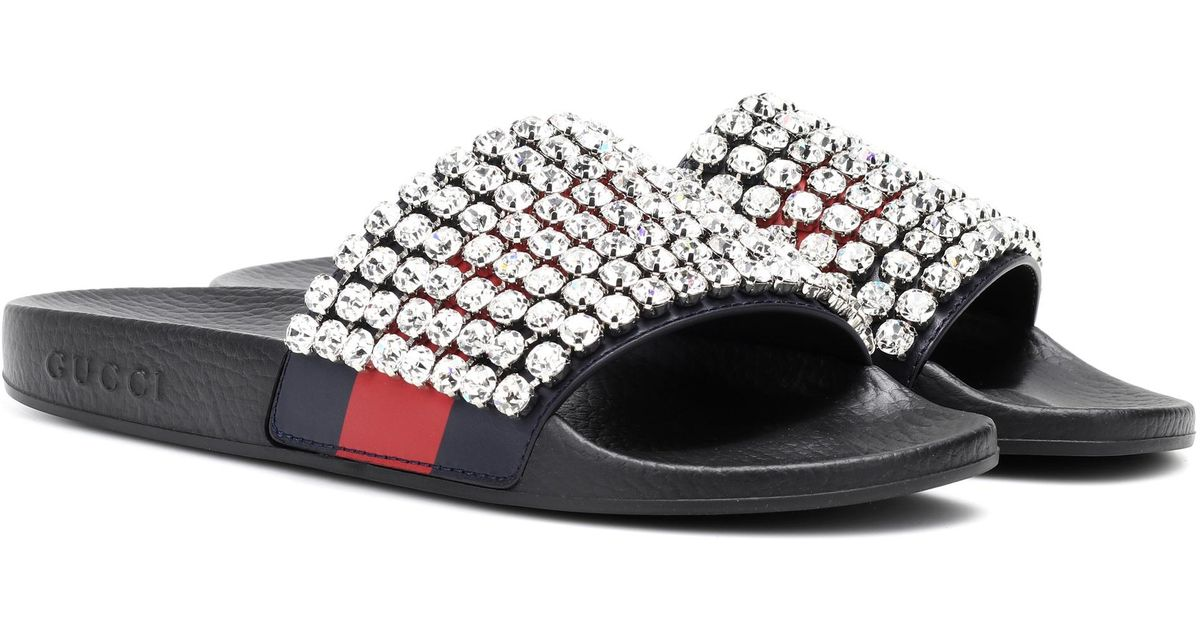 e7d0de903 Gucci Crystal-embellished Slides in Black - Lyst