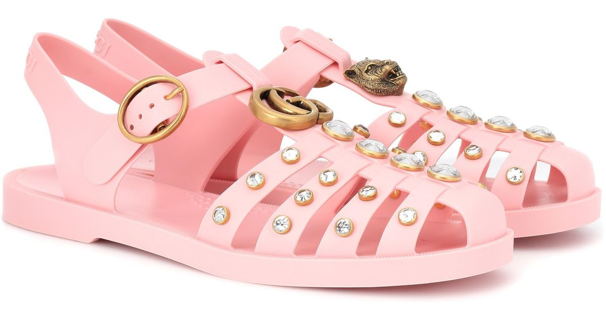 da8dc53a287f0 Lyst - Gucci Crystal-embellished Jelly Sandals in Pink
