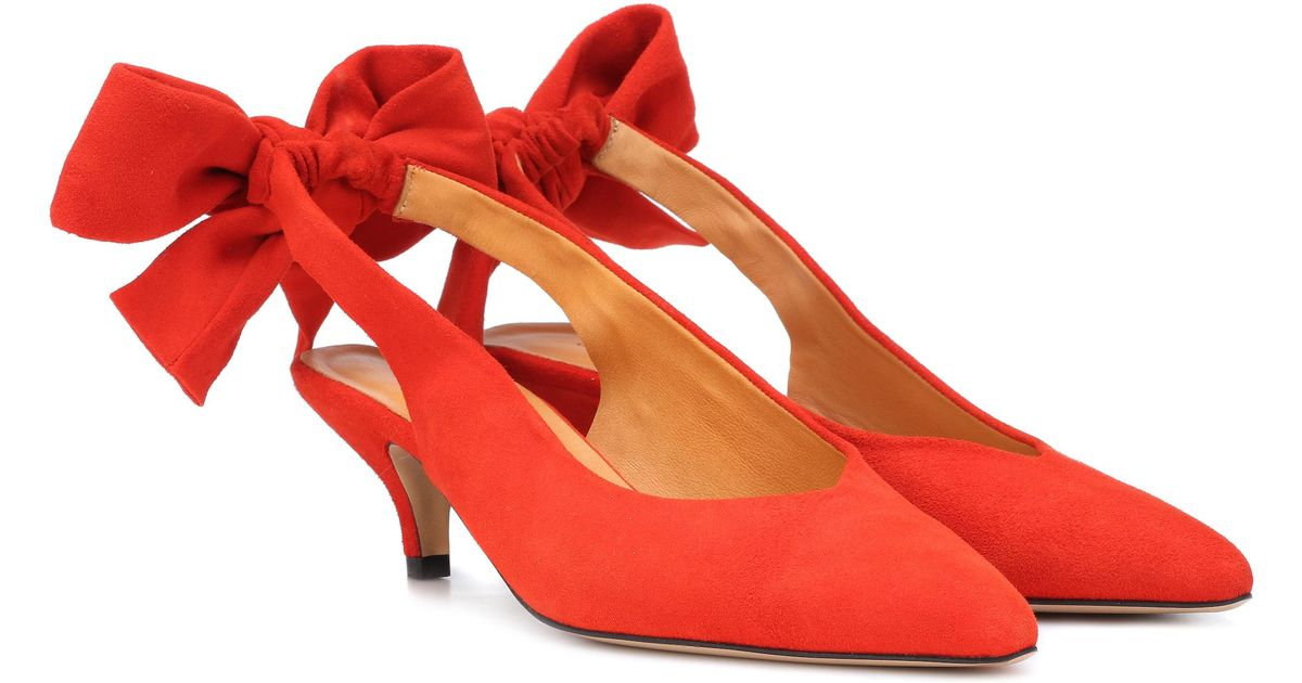 d67d853a144 Lyst - Ganni Exclusive To Mytheresa.com – Sabine Suede Slingback Pumps in  Red