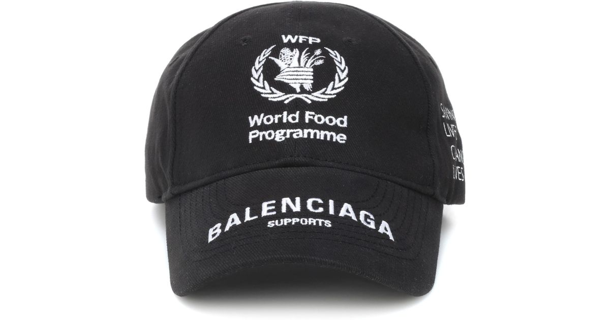 d1ed8bce Balenciaga World Food Programme Cotton Cap in Black - Lyst