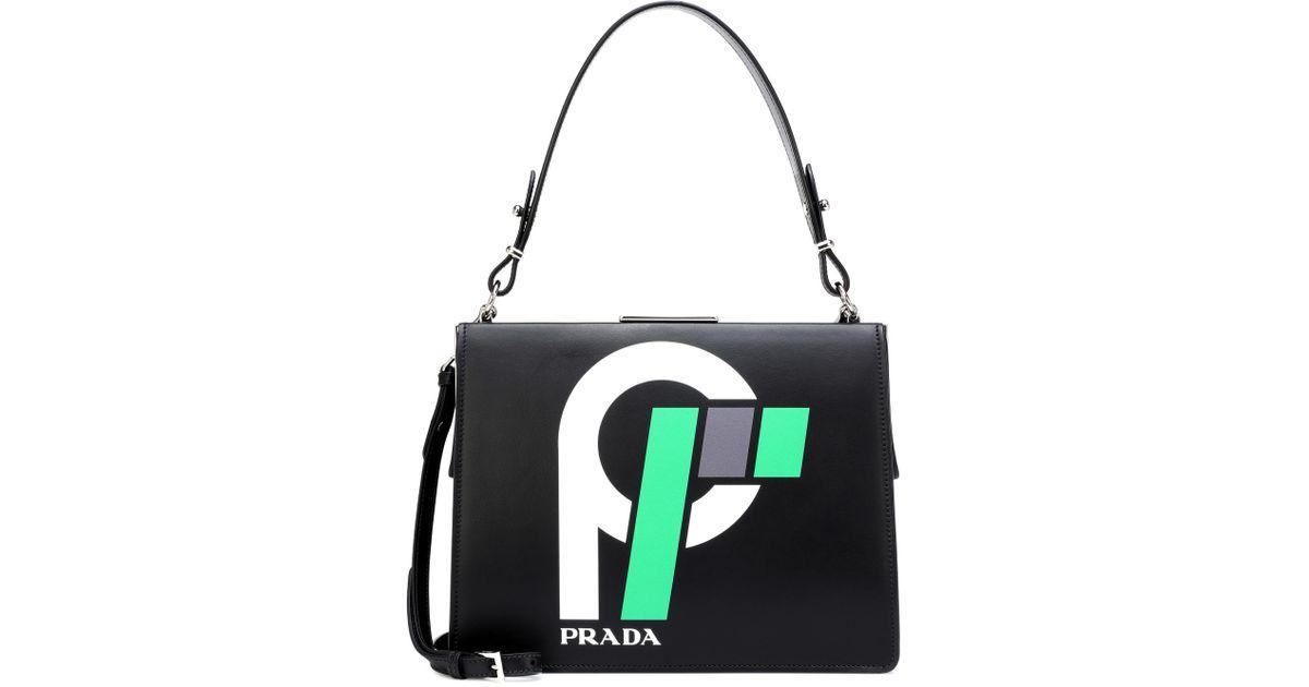 4c8ed5969e1e Lyst - Prada Light Frame Leather Shoulder Bag in Black