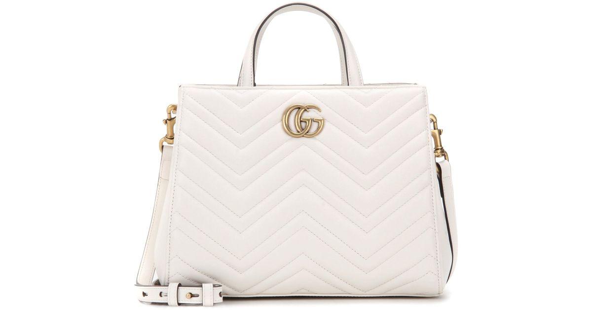 Lyst - Sac en cuir matelassé GG Marmont Small Gucci en coloris Blanc 7ec0b3e6b34