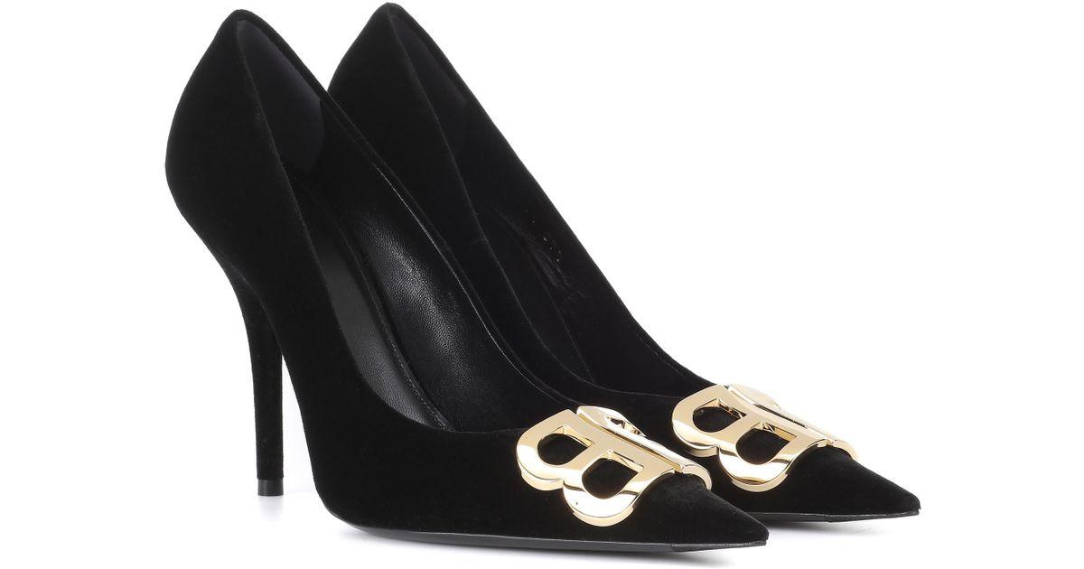 8ae5cbb30a9 Balenciaga Bb Pumps Velvet in Black - Save 1% - Lyst