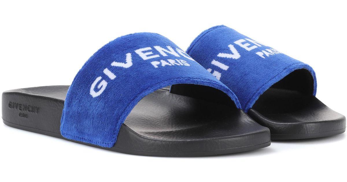 4b0acb67d918 Givenchy Printed Velvet Slides in Blue - Lyst