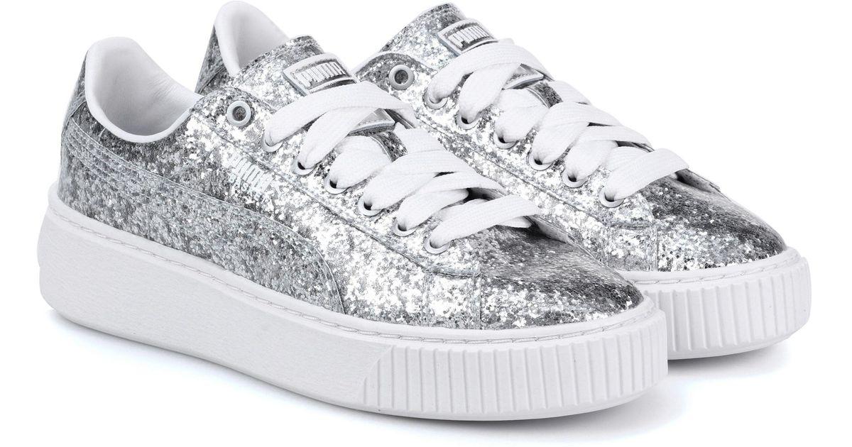 dda3b9d3cf3b PUMA Basket Platform Glitter Sneakers in Metallic - Lyst