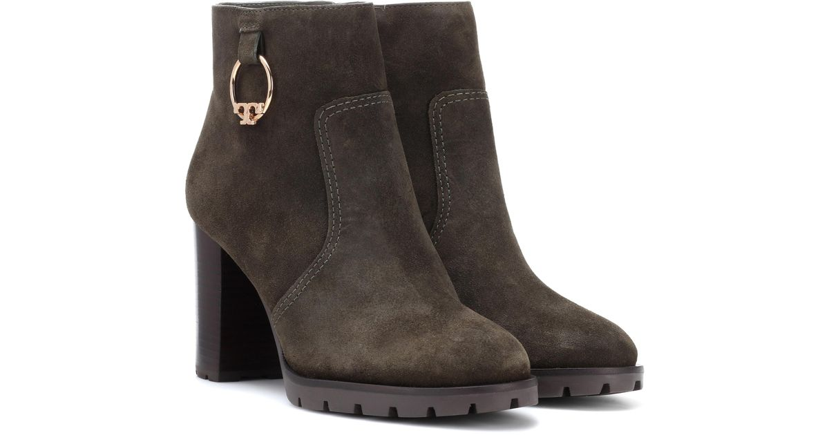 15b6af97b5a Lyst - Tory Burch Sofia Suede Ankle Boots in Green
