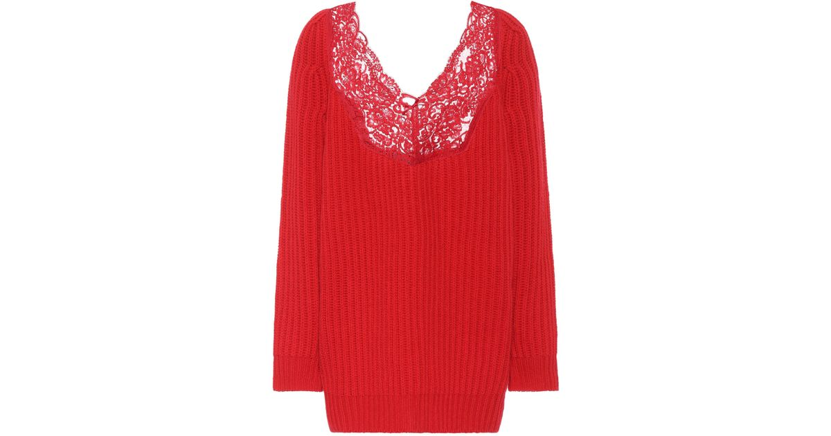 Lyst - Balenciaga Lace-trimmed Wool Sweater in Red 7352b7711