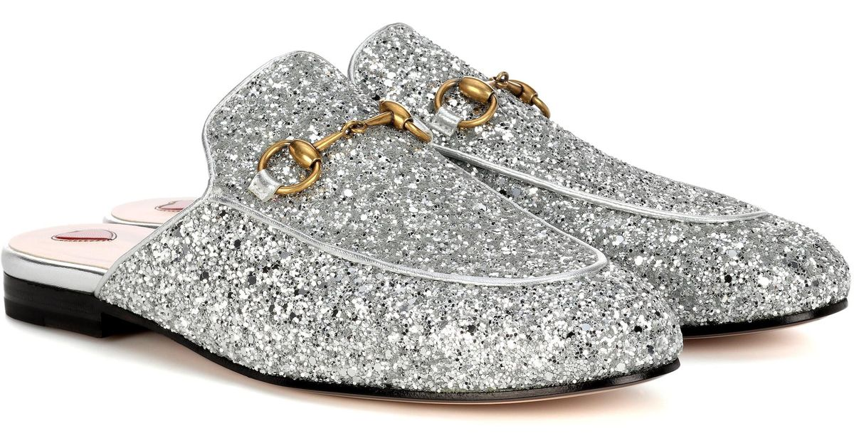 2614acf52ed Gucci - Multicolor Princetown Glitter-coated Leather Slippers - Lyst