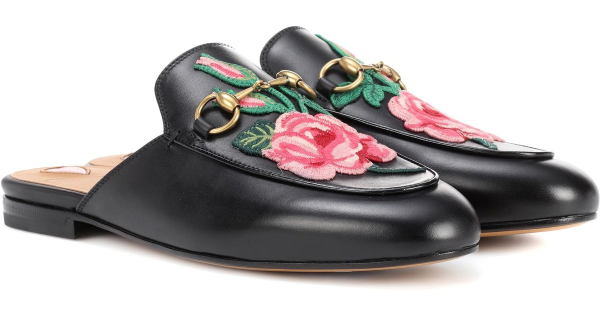 8105fae7584 Lyst - Gucci Princetown Appliquéd Leather Slippers in Black