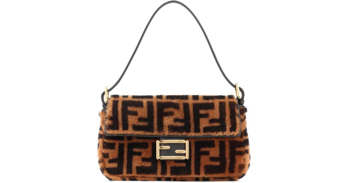 b89db8e2d3a0 Fendi Baguette Sheepskin Bag In Brown in Brown - Lyst