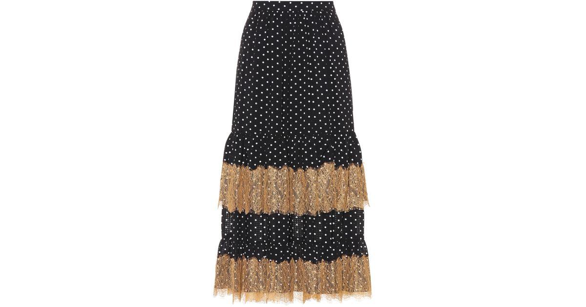 Polka-dot and lace midi skirt AlexaChung Cheap Sale Fake Really Cheap Price Outlet Clearance QVAtWznYy