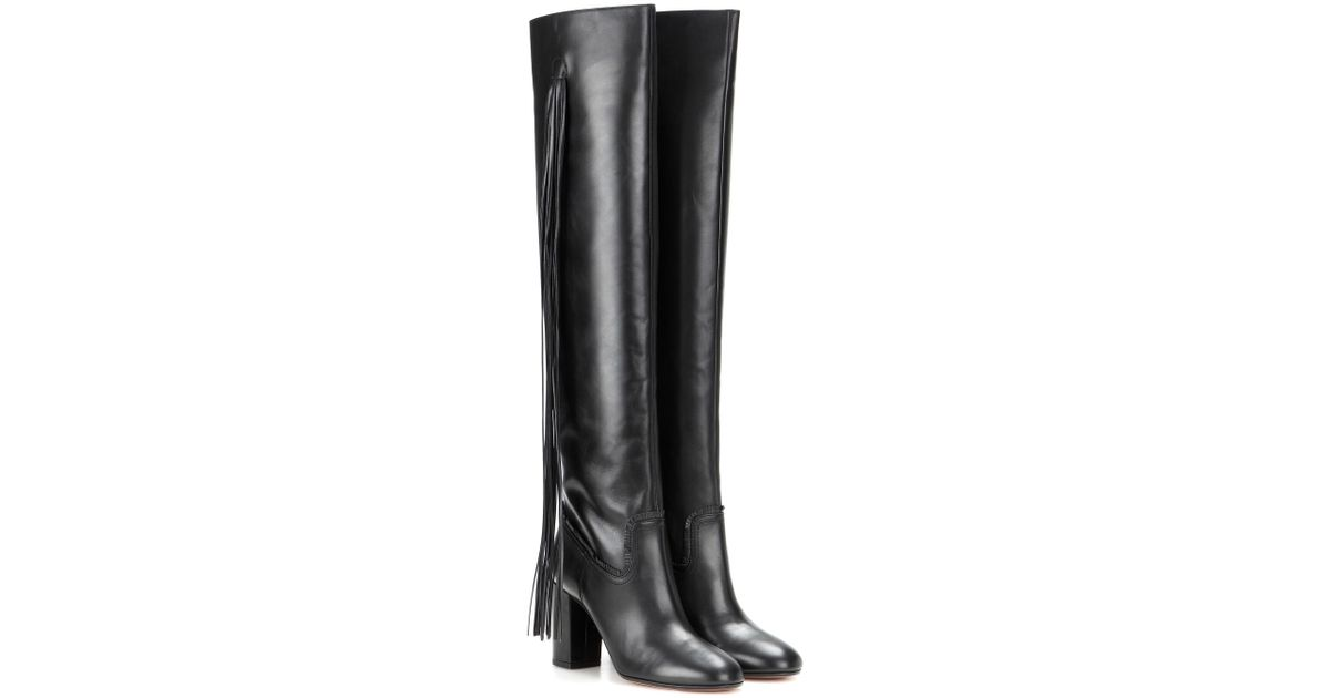 47a098d9272 Aquazzura Fringed Leather Over-the-knee Boots in Black - Lyst
