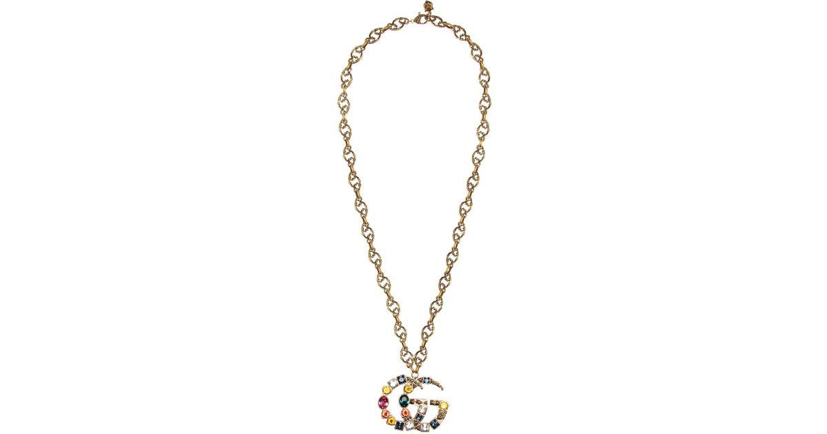 3740fd556 Gucci Crystal Logo Pendant Necklace in Metallic - Lyst
