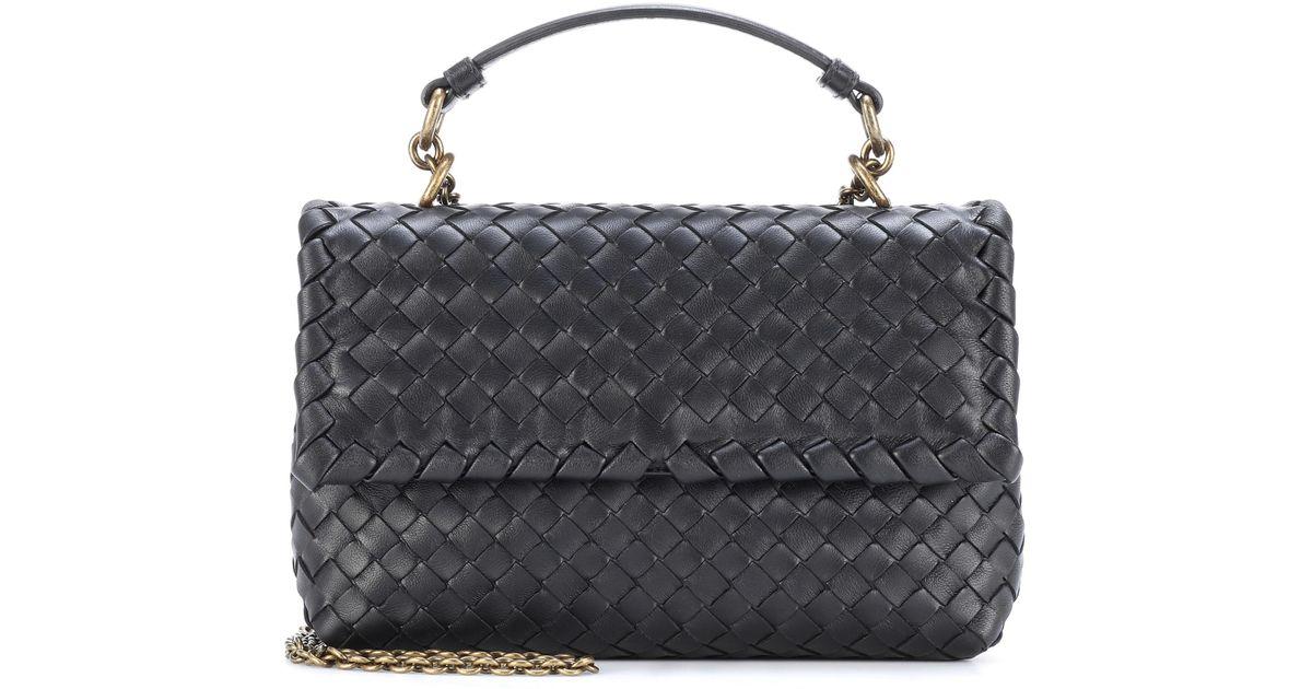 c0bcacd74cca Bottega Veneta Olimpia Small Leather Shoulder Bag in Black - Lyst