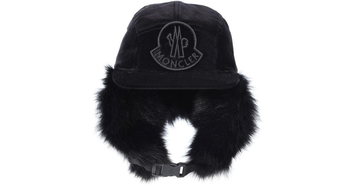 c4b2a0f1cb4 Lyst - Moncler Fur-lined Cotton Trapper Hat in Black