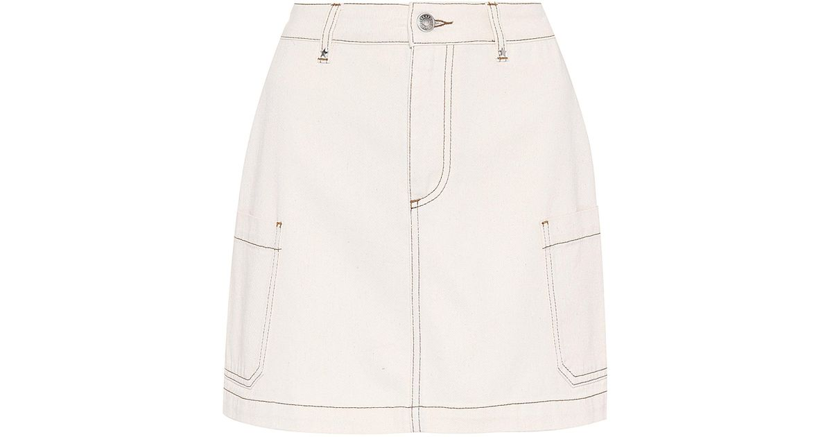 f186e4ffd3 Lyst - Alexachung Patch Pocket Denim Skirt in White