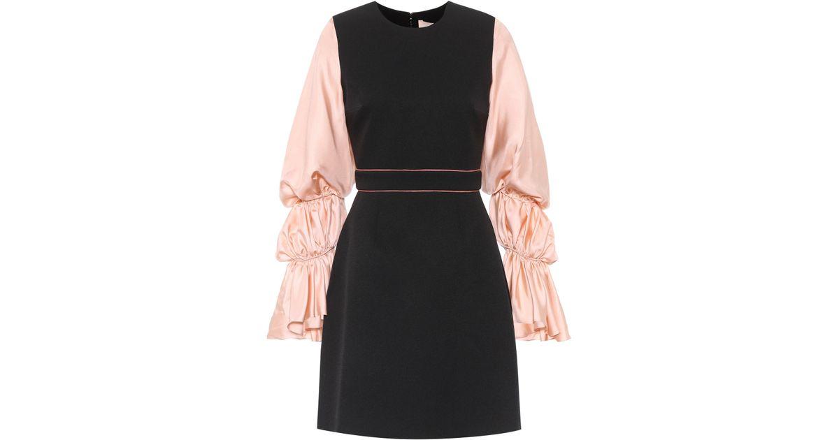 72b1f0360cf roksanda-ilincic-nudeblack-Silk-blend-Blouson-Sleeve-Dress.jpeg