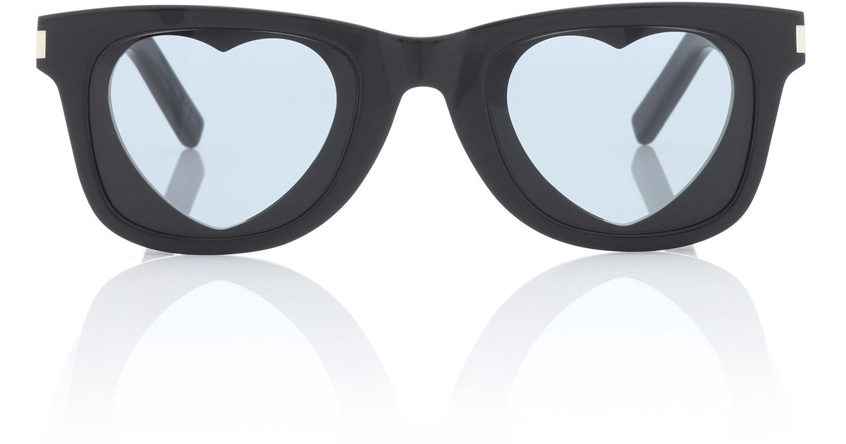 77fce29f58 Saint Laurent Classic Sl 51 Heart Sunglasses in Black - Lyst